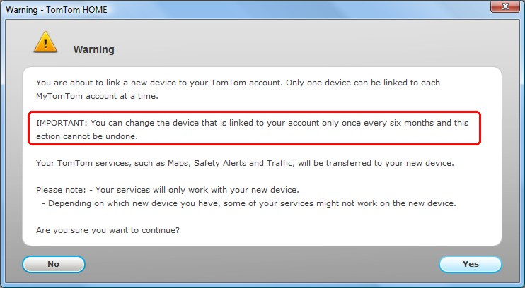 TomTom Home - Switch Device Warning